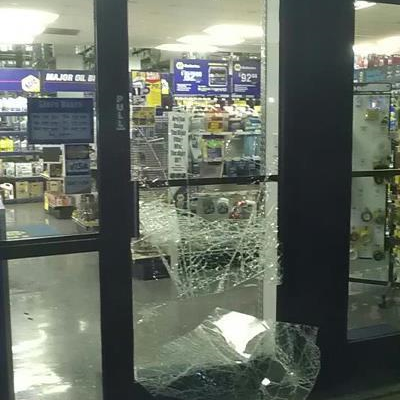Storefront door glass shattered.